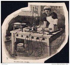 """Elektrische Küche  - Druck , entnommen aus """"die Gartenlaube"""", 1898"""