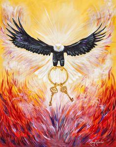 Eagle Rising by Amy Rylander. Keys of the kingdom prophetic art. Eagle Art, Bride Of Christ, Prophetic Art, Biblical Art, Jesus Pictures, Arte Pop, Christian Art, Holy Spirit, Creative Art