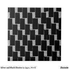 Silver and Black Illusion Small Square Tile