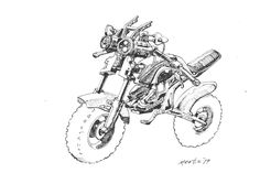 concept apocalypse bike in pen and ink a merts original drawing sketch