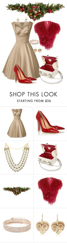 """""""Magical Christmas"""" by glamourgrammy ❤ liked on Polyvore featuring Gianvito Rossi, Mark Cross, Improvements, Topshop, Anne Klein and Annette Ferdinandsen"""