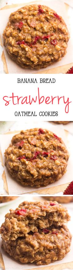 Clean-Eating Strawberry Banana Bread Oatmeal Cookies -- just 95 calories, but these skinny cookies don't taste healthy at all! You'll never need another oatmeal cookie recipe again!
