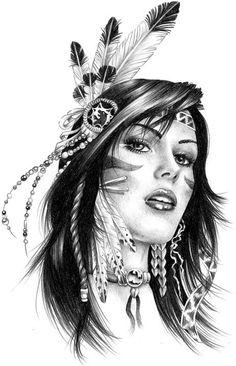 Designs for girls, indian women tattoo, red indian tattoo, indian girl tatt Native Girls, Native American Girls, Native American Beauty, American Indian Art, Native American Drawing, Native American Tattoos, Native Tattoos, Indian Women Tattoo, Indian Girl Tattoos