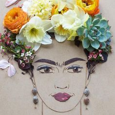 "Sister Golden | ""Independence Frida"" Flower Face Print – Print of original flower faces by Vicki Rawlins. Hi-resolution print on Fuji Chrystal Archive paper with a matte finish 1/2"" paper border on 4 sides for eas"