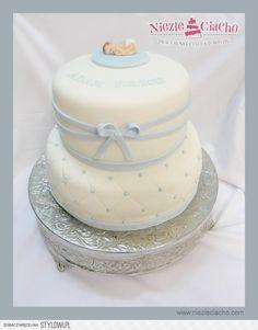Dzidziuś, dziecko, tort chrzcielny, niebiesko-biały tort chrzcielny, tort na chrzciny, chrzest, chrzciny, tort piętrowy
