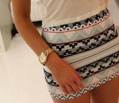 Tribal/Aztec Print skirt.