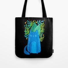Cute cat tote bag, design by wackapacka