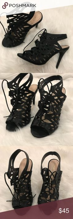 Lace up heels, size 8.5, never worn Lace up heels, size 8.5, never worn. Originally purchased from ModCloth Anne Michelle Shoes Heels