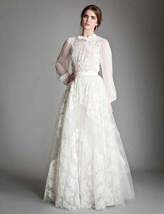 Закрытое свадебное платье в стиле 40-х