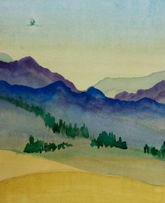 Landscape Watercolor Painting Art Decor The Originals Hills Painting Mountains Original Wall Hanging Living Room Decor