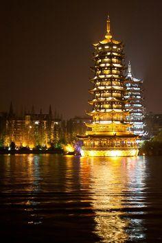 Sun Moon Pagodas, Guilin, China
