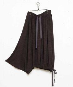 Yohji Yamamoto - C/W天竺 ギャザー裾紐スカート