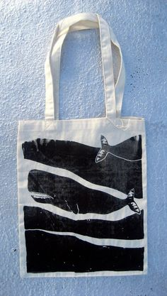 Passing Whales Screenprinted Tote by brightbeige on Etsy, $12.00