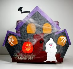 My Scrap Chick Haunted House adhered to the front of a re-purposed box.