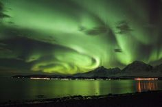 Aurora Taken by Jan Arne Karlsen on January 2, 2014 @ Aurora with curls over the Lyngen Alps i Norway. Nikon D90 1500 ASA
