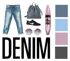 """""""My denim"""" by schoolgirllife ❤ liked on Polyvore featuring Target, Sans Souci, NIKE, Monki, Maybelline and mydenim"""