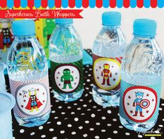 Avengers Bottle Wrappers for Superhero birthday party. by Popobell