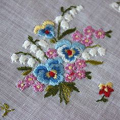 hand embroidered pansies - Google Search