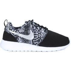 Nike Sneakers ($84) ❤ liked on Polyvore featuring shoes, sneakers, nero, nike shoes, women shoes, black trainers, famous footwear and snake skin shoes