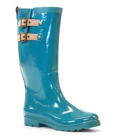 Another great find on #zulily! Teal Double-Buckle Rain Boot #zulilyfinds