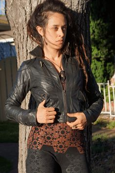 Shop for on Etsy, the place to express your creativity through the buying and selling of handmade and vintage goods. Womens Black Leather Jacket, Cold Weather Outfits, Zipper, Pockets, Vintage, Shopping, Clothes, Tops, Etsy