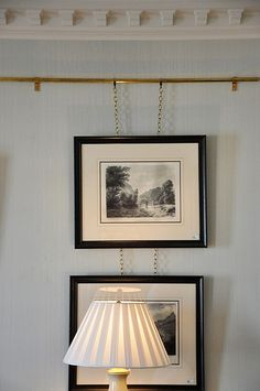 I am obsessed with the idea of using picture rails as a new& twist on the ubiquitous gallery wall. I think I just like the extra visual l. Picture Rail Hanging, Picture Rail Molding, Hanging Pictures, Art Hanging System, Hanging Art, Little Green Notebook, Hanging Paintings, Modern Home Furniture, Home Improvement Projects