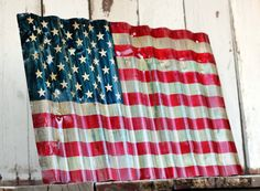 AMERICAN FLAG - Reclaimed, painted and distressed metal sign- Industrial, Rustic, Home Decor, Wall Art, Patriotic.