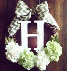 Green & White Hydrangea Grapevine Wreath with a Chevron Burlap Bow via Etsy