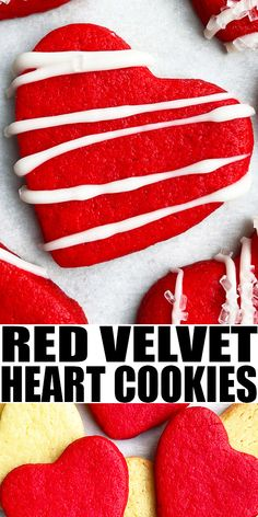 VALENTINE'S DAY HEART COOKIES RECIPE- Easy heart shaped cookies, homemade with simple ingredients. Starts off with red velvet cake mix. These cut out sugar cookies hold their shape with no spreading and can be decorated with royal icing or melted white chocolate. From CakeWhiz.com Cake Mix Cookies, Yummy Cookies, Sugar Cookies, Heart Shaped Cookies, Heart Cookies, Easy Cookie Recipes, Dessert Recipes, Baking Recipes, Holiday Recipes