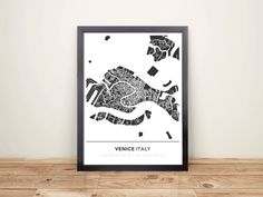 Framed Map Poster of Venice Italy - Simple Contrast - Venice Map Art