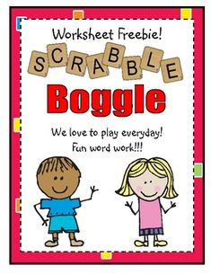 Free! Play Boggle with scrabble letters.  Word work plus addition fact practice :) She also has downloadable letter tiles.