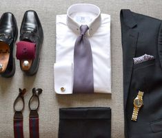 """suitandtiefixation: """"#outfit 28: pin collar shirt from @miler_menswear and classic 3 piece navy suit. """""""