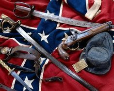 Civil War Weapons | selection of Confederate weapons including a pistol, a knife and ...