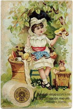 vintage advertising cards   vintage trade card, merrick thread, victorian ad card, girl sewing ...