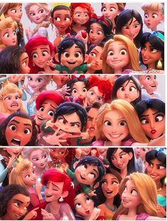 Vanellope and the Disney Princesses in Wreck-it Ralph 2 Disney Pixar, Walt Disney, Disney Animation, Disney E Dreamworks, Cute Disney, Disney Girls, Disney Cartoons, Disney Magic, Disney Art