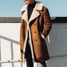 10% Discount🌈 for Any 3 Items 1st Order 💥Get 8% Off FREE SHIPPING🚀 OVER $69+ Mens Outdoor Fashion, Mens Fashion, Fashion Black, Fashion Terminology, Long Overcoat, Mens Winter Coat, Shearling Coat, Mens Clothing Styles, Coats For Women