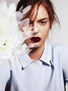 SPRING BEAUTY EDITORIAL SPREAD FRESH FLORAL INSPIRATION Mixte Magazine 2014 Model Alma Durand Photographer Jem Mitchell Hair and Makeup Neil Moodie Lloyd Simmonds FLORAL DIGITAL COLLAGE DARK WINE BURGUNDY LIPSTICK COLLARED SHIRT UPDO HAIR