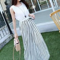 Buy Romantica Striped Maxi Dress at YesStyle.co.uk! Quality products at remarkable prices. FREE SHIPPING to the United Kingdom on orders over £ 25.