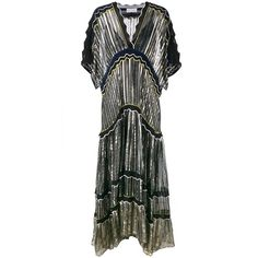 Peter Pilotto Metallic Silk-Blend Gown ($3,182) ❤ liked on Polyvore featuring dresses, gowns, blue, blue dress, metallic print dress, pattern dress, metallic evening gowns and print dresses
