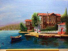 Yağlı boya yalı resmi Oil Painting Pictures, Beautiful Sites, Decoupage, Islamic Art, Beautiful Landscapes, Home Art, Landscape Paintings, Istanbul, Scenery