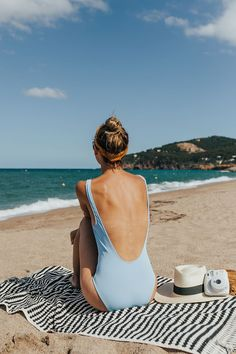 backless swimsuit | bandana | summer | beaches | ocean | picnic | Polaroid | sun hats | topknots | relax