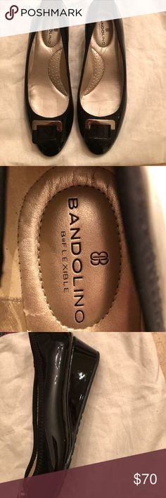 Bandolino flexible wedge Black patent shoes with gold buckle accent on the toe Bandolino Shoes Wedges