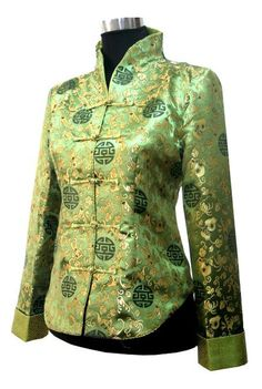 #idreammart Periwing Graceful Green Satin Gilt Mum Straight Collar Chinese Jacket for Ladies - iDreamMart.com