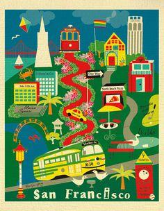 San Francisco Map Art San Francisco Print SF Poster by LoosePetals
