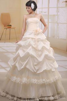 Floor-length Sleeveless Natural Zipper Champagne Ball-Gown Organza/Satin Strapless Elegant Ruffles/Flowers/Appliques/Sequins Wedding Dress