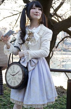 Slightly more modern steampunk lolita. Or perhaps it's classic lolita? Hard to tell. Would definitely wear this as an every day outfit