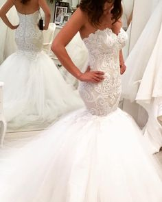 Heavy embellishment mermaid wedding dress #wedding #weddingdress #weddinggown
