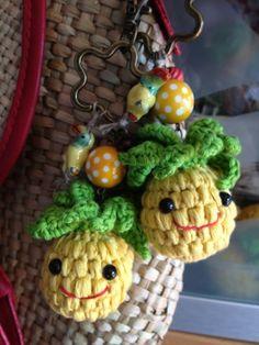 LLaveros Piña Amigurumi, hechos por mí con hilo Natura! #naturadmc
