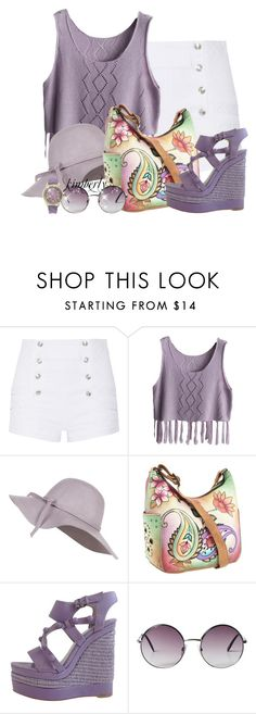 """Spring Purple"" by cavell ❤ liked on Polyvore featuring Pierre Balmain, Anuschka, Balenciaga, Monki and Geneva"