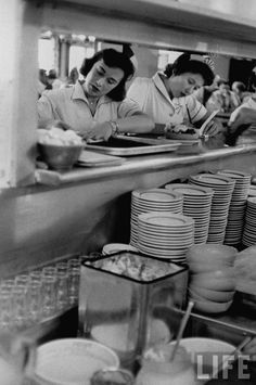 College girls working as waitresses at a hotel in Yellowstone National Park for the summer, 1958. By Frank Scherschel